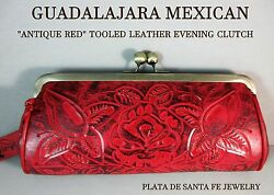 GUADALAJARA~ANTIQUE RED~Tooled Leather~Western Style~Shoulder or Evening Clutch