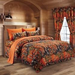 8pc Queen Size Orange Camouflage Comforter Bed Skirt Set Home Sheet Pillowcases