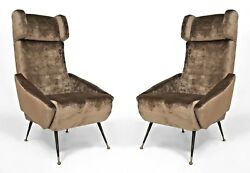 Pair of Italian 1960s Grey Velvet Upholstered Stylized Wing Back Arm Chairs