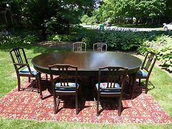 Magnificent dining room set six chairs bow front china cab server buffet