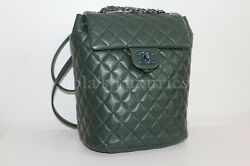 AUTHENTIC CHANEL CLASSIC QUILTED URBAN SPIRIT BACKPACK OLIVE LAMBSKIN FULL SET