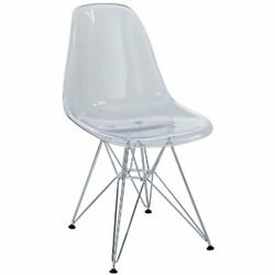 Modway Plastic Side Chair in Clear with Wire Base Dining Chairs New