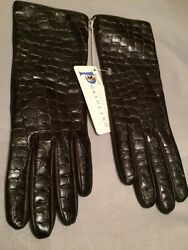 NEW Portolano Croccoprinted Dark Brown Leather 100% Cashmere Lined Gloves Size 7