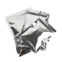 Flat Aluminum Foil Silver Zipper Package Pouch Coffee Nut Storage Bags Heat Seal