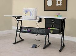 Sewing Machine Cabinet Craft Table Art Studio Computer Desk Drafting Center New