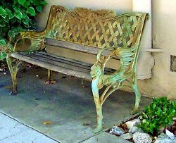 ANTIQUE VINTAGE VICTORIAN NEOCLASSICAL ORNATE CAST IRON PATIO PARK GARDEN BENCH