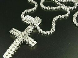 1 Row Men#x27;s Rosary Chain with Cross in Natural Diamond White Gold Finish 34quot; $599.00