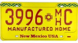 NOS UNUSED New Mexico MANUFACTURED HOME License Plate #3996-C