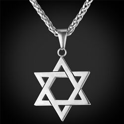 Star of David Pendant amp; Necklace Chain christian Israel Jewish Silver $19.99