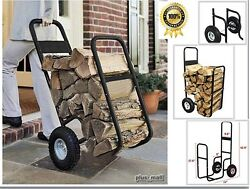 Outdoor Firewood Log Carrier Fireplace Wood Rack Dolly Rolling Fire Storage Cart