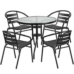 Outdoor Patio Furniture Round Glass Table 4 Chairs Bistro Set Home Garden New