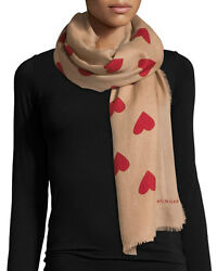 Authentic New BURBERRY UNI Women's Hearts Lightweight Camel Cashmere Scarf $895