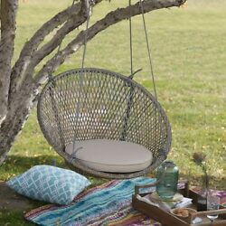 Patio Swing Chair Cushion Wicker Furniture Round Porch Straps Swings Hanger Seat