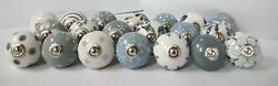 100 Mixed Grey White & Cream Vintage Look Ceramic Cupboard Door Knobs knob