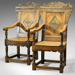 Antique Pair of Baronial Carver Chairs C19th English Oak Hall Armchairs