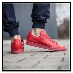 NEW Adidas Stan Smith ADICOLOR TRIPLE RED Men#x27;s Pharrell Scarlet Leather S80248 $39.19