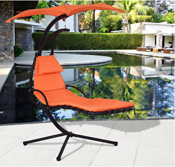 Chaise Lounge Outdoor Patio Chair Free Swing Hammock Cushion Canopy Orange
