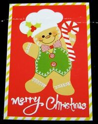 Gingerbread Man Flag IndoorOutdoor 18 x 12 Candy Cane Christmas Decorative Flag