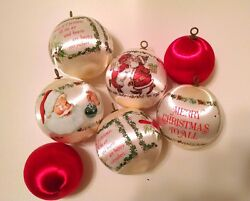 VINTAGE 7 Silk Christmas Ornaments Santa Mrs Claus Cardinals White and Red