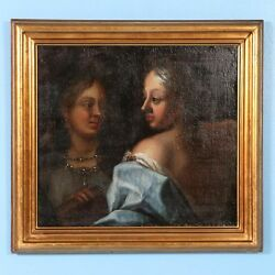 Antique 18th Century Italian Oil on Canvas of Two Women circa 1760