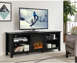 70 inch Black Wood Fireplace TV Stand Entertainment Center Heater Wood Fire NEW