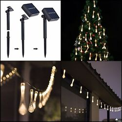 20ft 30 LED Waterproof Solar String Lights Water Drop XMAS Outdoor Warm White