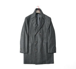 NEW Kiton $6100 Chesterfield Coat Long Double Breast Check Cashmere Silk EU50 GY