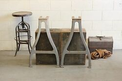 Vintage Industrial Machine Legs Cast Iron Seneca Falls Bench Lathe Dining Table