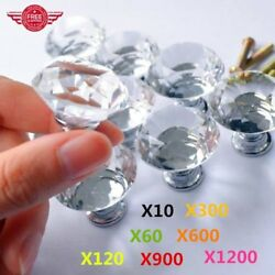 LOT 30mm Pull Handle Diamond Shape Crystal Glass Cabinet Knob Cupboard Drawer EK