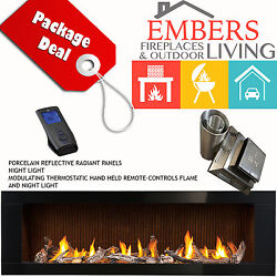 NAPOLEON LHD62 LINEAR GAS FIREPLACE MODERN DRIFTWOOD & FLUTED BRICK VENTING KIT