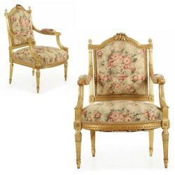 Pair of French Louis XVI Arm Chairs w Exquisitely Carved Musical Instruments