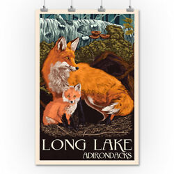 Long Lake NY Adirondacks Fox & Kit LP Artwork (36x54 Giclee Print)