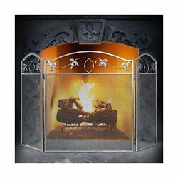 Amagabeli 3 Panel Pewter Wrought Iron Fireplace Screen Outdoor Metal Decorati...