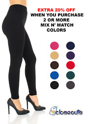 Women#x27;s Fleece Lined Leggings Solid Colors Winter Thick Warm Thermal Stretchy $7.45