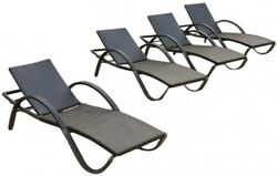 4-Pack Deco Patio Chaise Lounge Chair Aluminum Frame UV Weather Rust Resistant