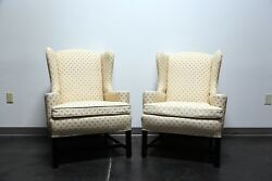 Chippendale Style Mahogany Wing Back Chairs by Conover Chair Co - Pair