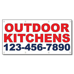 Outdoor Kitchens Phone Custom Red Blue Vinyl Banner Sign With Grommets