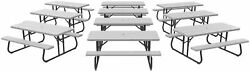 10 Pk Outdoor Folding 6 Ft Picnic Camping Conference Tables Bench Seat Set Gray