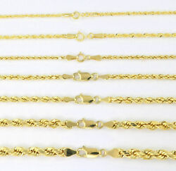 Real 14K Yellow Gold 1mm-5mm Rope Chain Link Necklace Bracelet Mens Women 7