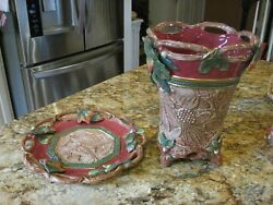 FITZ & FLOYD Christmas Lodge Vase and Decorative Plate - Both Perfect Condition.