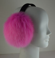 Real Pink Fox Fur Earmuffs New Made in the USA $49.95