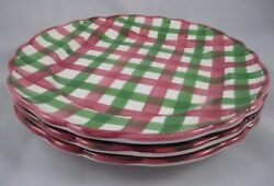 3 VTG Macys The Cellar LOG CABIN PLAID Christmas Dinner Plates Made in Italy