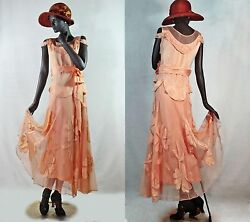 Early 1930s Robe de Style Gown Peach Silk Satin & Net w Appliques Sz 6 #G1374