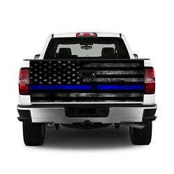 T329 Police Flag Distressed Tailgate Wrap Vinyl Graphic Decal Sticker LAMINATED