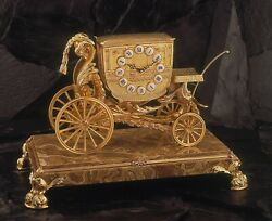 Soher Bronze Spanish Mantle Clock Golden Cart Marble Base Brass  New