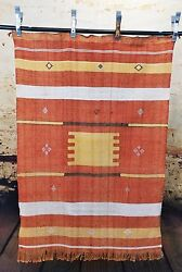 Moroccan Rugs & Textiles - Sabra Cactus Silk - Red Orange 54 x 38 inches