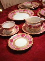 Waldershof Bavaria Rosenkavalier Made In Germany 22K Gold Fine China Serving 12