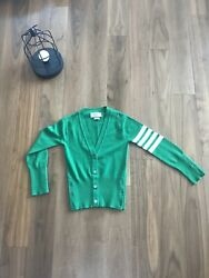 Women'sThom Browne 100% Cashmere Green Striped Sleeve Cardigan Size 0