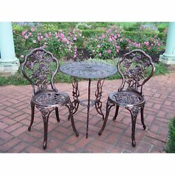 Bistro Patio Set Wrought Iron Rose Table And Chairs 3 Pieces Garden Outdoor NEW
