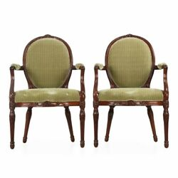 18th Century Pair of English George III Carved Mahogany Antique Arm Chairs